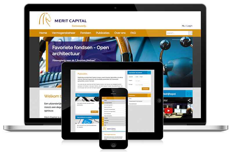 Responsive webdesign voor Merit Capital