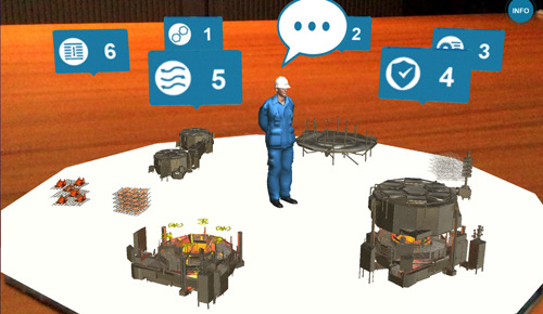 augmented reality toont industriele spiraal-oven