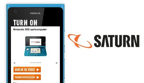 "Mobiele productpagina's voor Saturns Magzaine ""Turn on"""